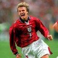 David Beckham Camisola Retro Inglaterra 1998 Away